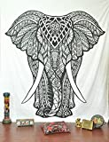 Craftozone Tapiz de mandala indio de elefante, tapices hippie, tapiz para colgar en la pared, tapiz indio negro y blanco, decoración de dormitorio bohemio mandala tapices por, Elephant (220x140 cms)