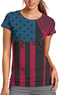 Women's American Flag Lacrosse Novelty T Shirt Casual 3D Printed Tees