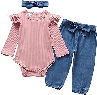 3PCS الوليد طفلة رومبير الملابس مجموعة الرضع كم طويل بلون بذلة قمم السراويل عقال ملابس ملابس (Color : Blue, Kid Size : 12M)