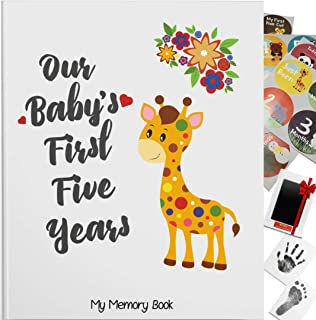 Novarena First 5 Years BabyMemoryBook Journal - 95 Pages Scrapbook with 48 Pack Monthly Milestones Stickers & Clean-Touc...