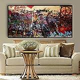 yaonuli Mujer Graffiti en la Pared Lienzo Abstracto Pintura Carteles e Impresiones Arte Callejero Sala Imagen sin Marco Pintura 40x80cm