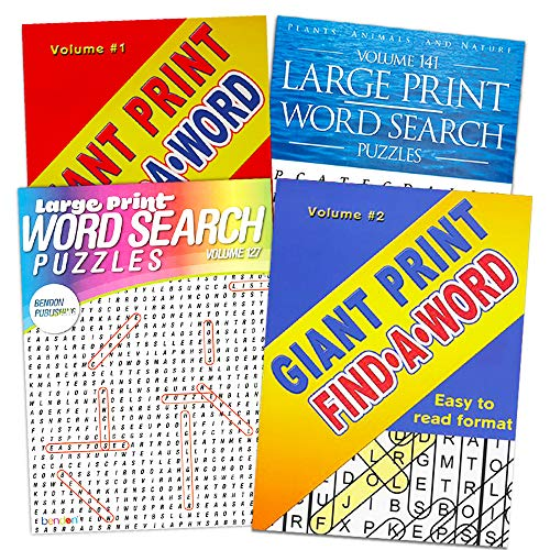 Word Find Puzzle Books for Adults Seniors - Set of 4 Jumbo Word Search Books with Large Print (Over 380 Pages Total)