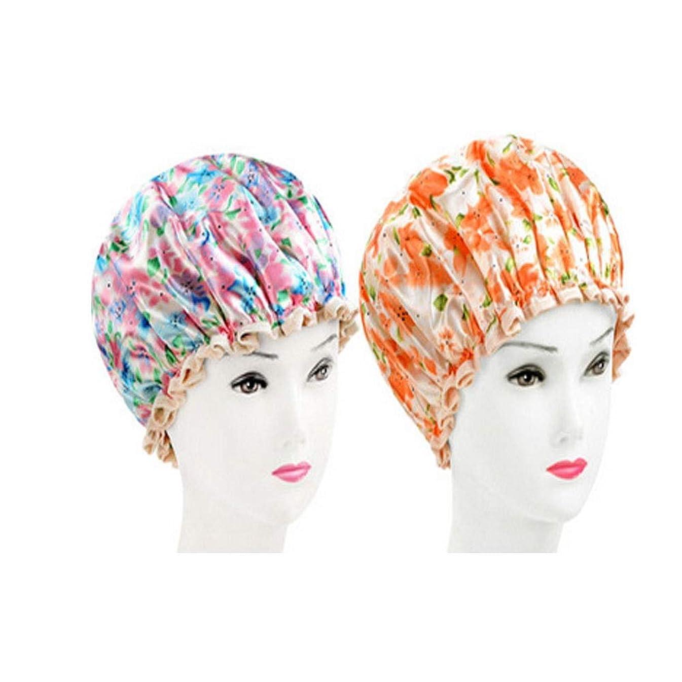 節約スリップ派生するHUCHAOQIXIU シャワーキャップ、レディースシャワーキャップレディース用のすべての髪の長さと太さのデラックスシャワーキャップ - 防水とカビ防止、再利用可能なシャワーキャップ。 (Color : 4)