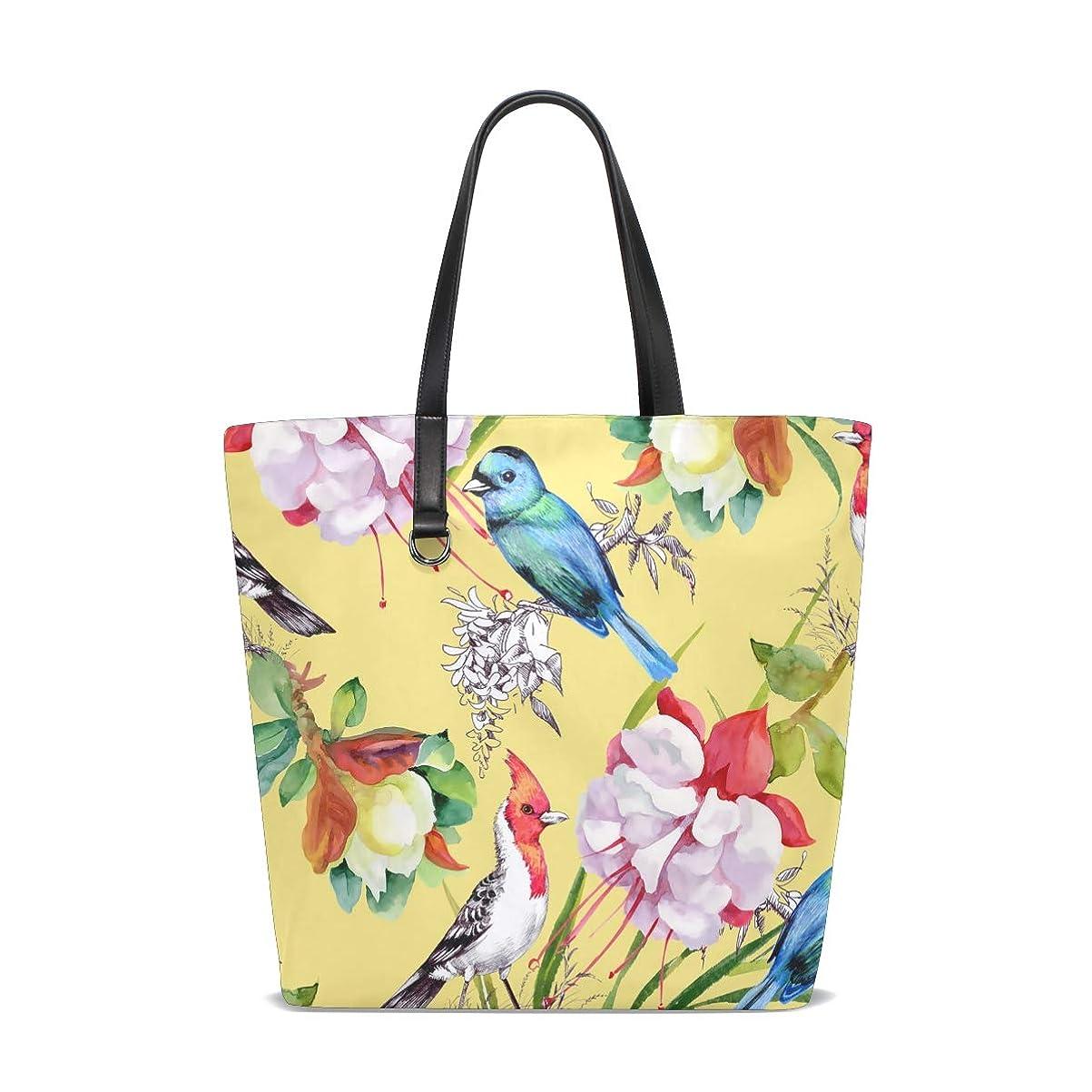 腐敗仮称レイトートバッグ かばん ポリエステル+レザー 麗しい 花と鳥柄 黄色 両面使える 大容量 通勤通学 メンズ レディース