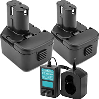 Creabest 2 Pack 12V 3500mAh Ni-MH Replacement Battery Compatible with Hitachi EB1212S EB1214L EB1214S EB1220BL EB1220HS Include One 1.2V-18V Battery Charger