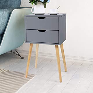 Nightstand End Table Storage Wood Cabinet Bedroom Accent Side Table Gery