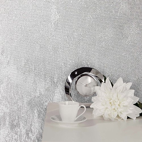 Crown Wallcoverings Alexis Texture Tapete M1386 – Vinyl, Metallisch/Glitzernd, einfarbig, silber