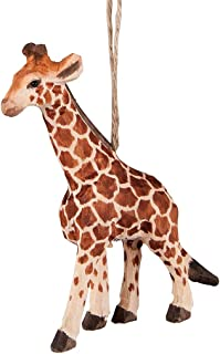 Giraffe Carved Wood Ornament by C&F
