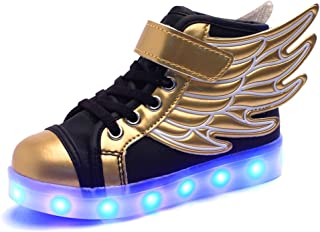 Kids Boys Girls USB Charger 7 Colors LED Lights Luminous Sports Shoes Sneaker Athletic Wings Trainers High-top Shoes