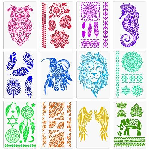 MWOOT 12 Piezas Plantillas de Dibujo Mandala Pluma Atrapasueños León Alas Plantillas...