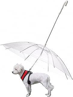 s-lifeeling Chubasquero Plegable para Perro con Cadena, para Caminar, Nieve, Lluvia, Paraguas Transparente de 20 Pulgadas de Longitud de Espalda de Mascotas