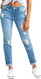 Resfeber Women's Ripped Distressed Boyfriend Jeans Stretch Denim Pants with Hole