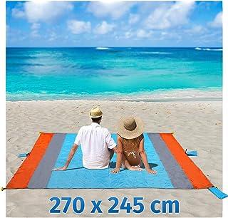Playa Manta Arena Libre XXL 270 x 245 cm Picnic Camping – Manta Toalla de Playa Bolsa de portátil Impermeable con 6 Funda y 6 Tienda stöpse Secado rápido para Picnic, Playa, Senderismo y Camping