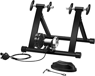 Indoor Bike Training Stand, Portable Steel Exercise Bicycle Trainer with 8 Levels Resistance, Folding Cycling Training Sta...