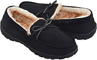 DGrut Moccasin Suede Slippers for Men Cozy Warm Fluffy Fur Shoes with Bow