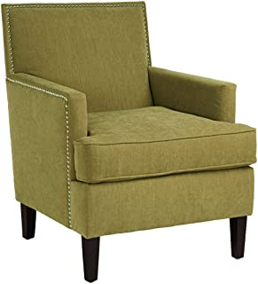 Madison Park Colton Accent Hardwood, Brich Wood, Faux Velvet, Bedroom Lounge Mid Century Modern Deep Seating, High Back Club Style Arm-Chair Living Room Furniture, Green