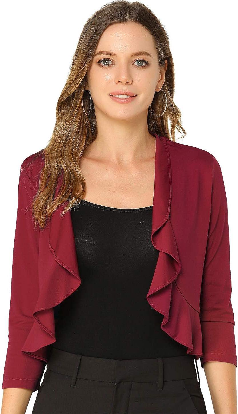 Allegra K Women's 3/4 Sleeve Shrug Tops Work Office Ruffle Bolero