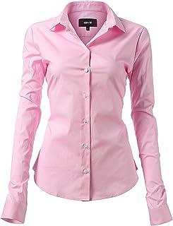 c44d75fe8dcbf1 INFLATION Damen Hemd mit Knöpfen Baumwolle Bluse Langarmshirt Figurbetonte  Hemdbluse Business Oberteil Arbeithemden 11 Farben