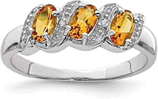 925 Sterling Silver Yellow Citrine Diamond Band Ring Stone Gemstone Fine Jewelry For Women Gift Set