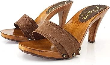 K6101 MARRONE Zoccoli MARRONI Handmade Tacco 9 cm