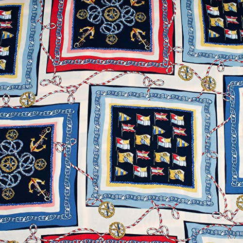 Mooi leven. Bekleding stof bloes stof viscose anker vlaggen touw in frame crème donkerblauw blauw rood geel 1,45 m breedte