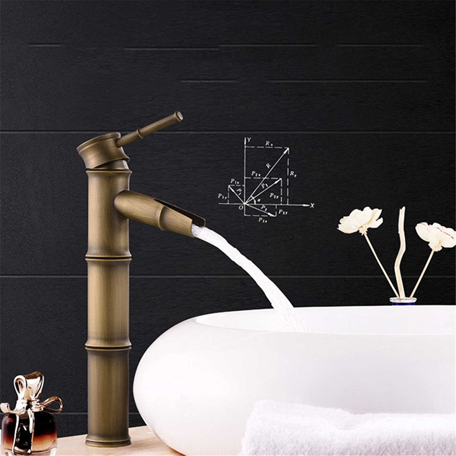 Hlluya Professional Sink Mixer Tap Kitchen Faucet Antique solid brass bamboo bench basin sink basin and cold water faucet antique
