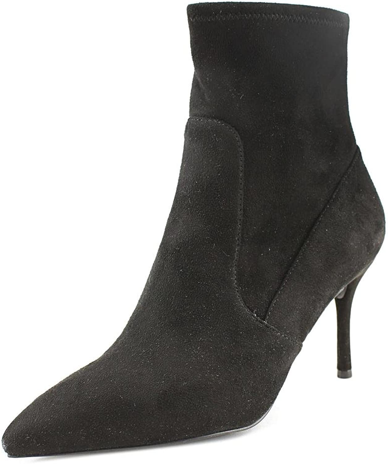 Material Girl Womens Carena Fabric Peep Toe Ankle Fashion Boots, Black, Size 5.5
