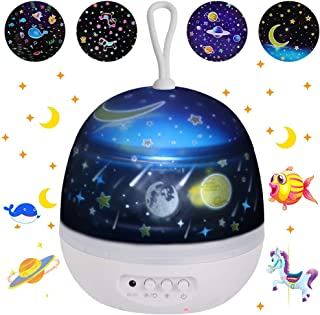Kids Night Lights Projector 4 Films, Portable Bedside Desk Lamp with USB Cable, 360-Degree Rotating, 4 LED Bulbs, 8 Colors Mode, Suitable for Baby Bedroom, Best Christmas Deco Gifts for Baby Girl boy