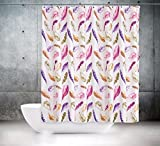 KS Handel 24 Textil DUSCHVORHANG Federn Weiss BUNT 120x200 cm 120 BREIT X 200 cm HOCH! LILA ROSA Shower Curtain