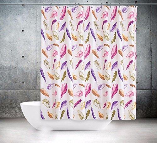 KS Handel 24 Textil DUSCHVORHANG Federn Weiss BUNT 240x200 cm 240 BREIT X 200 cm HOCH! LILA ROSA Shower Curtain