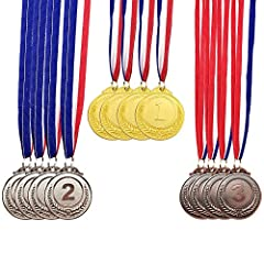 ☛PACKAGE: one package includes 4 gold awards, 4 silver awards and 4 bronze awards with red, white and blue neck ribbon, 12 counts in total. ☛MATERIAL: Metal (zinc alloy), not plastic. ☛UNIVERSAL USE: The medals are great for athletic events, academic...