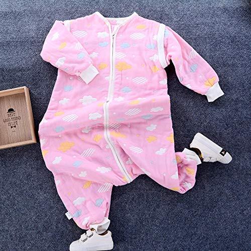 Zachte, warme babyslaapzak, slaapzak voor baby's en peuters met 6 lagen katoenen gaas-roze clouds_Length 70, voor peuters van 3 tot 18 maanden