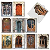 The Best Card Company - 10 Blank Note Cards Boxed (4 x 5.12 Inch) - Architecture, All Occasion Greeting Cards - Art Nouveau Doors M4624OCB-B1x10
