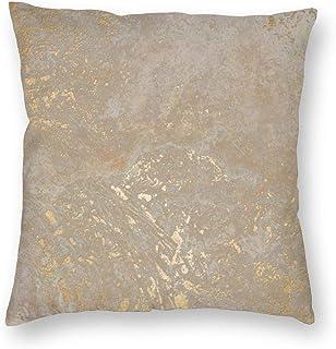 Throwpillow Funda de cojín Textura Vintage de Oro Pared Vintage.Grieta Dorada.Fondo Beige Funda de Almohada Decorativa para el hogar Sala de sofá-45x45cm