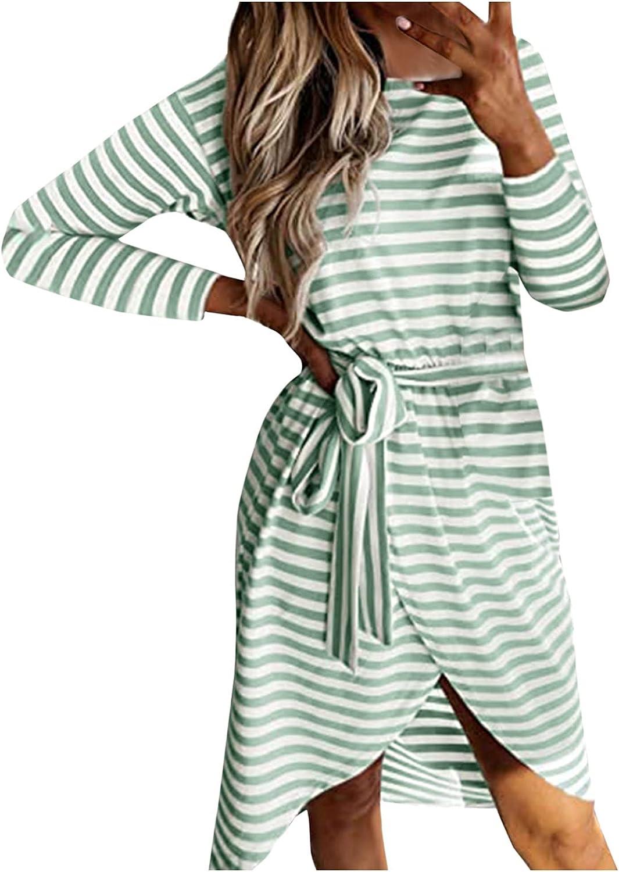 Xinantime Women's Irregular Hem Dress Stripes Printed Roud Neck Dresses Long Sleeve Casual Dresses with Belt Skirt