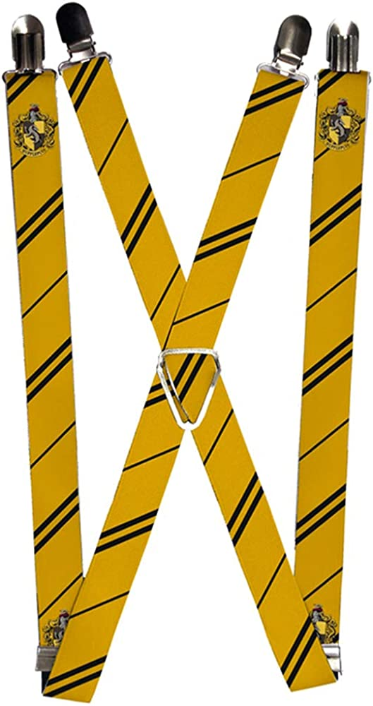 Buckle-Down Suspenders-Hufflepuff Crest/Stripe Yellow/Black