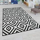 Alfombra Salón, Motivo De Rombos En Colores Pastel, Moderno Aspecto Étnico Y Bohemio, tamaño:60x100 cm, Color:Blanco y Negro