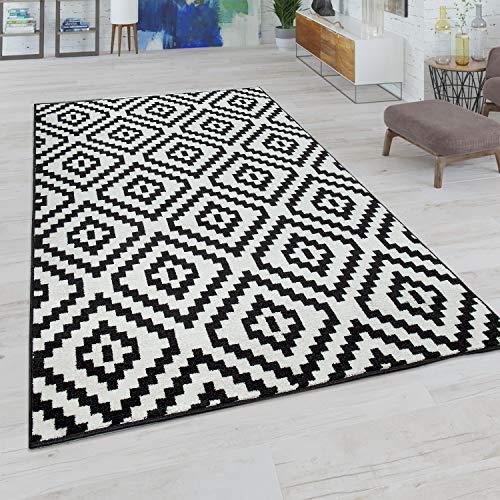 Paco Home Wohnzimmer Teppich, Rauten Muster in Pastell Farben, Moderner Boho Ethno Look, Grösse:70x140 cm, Farbe:Schwarz-Weiß