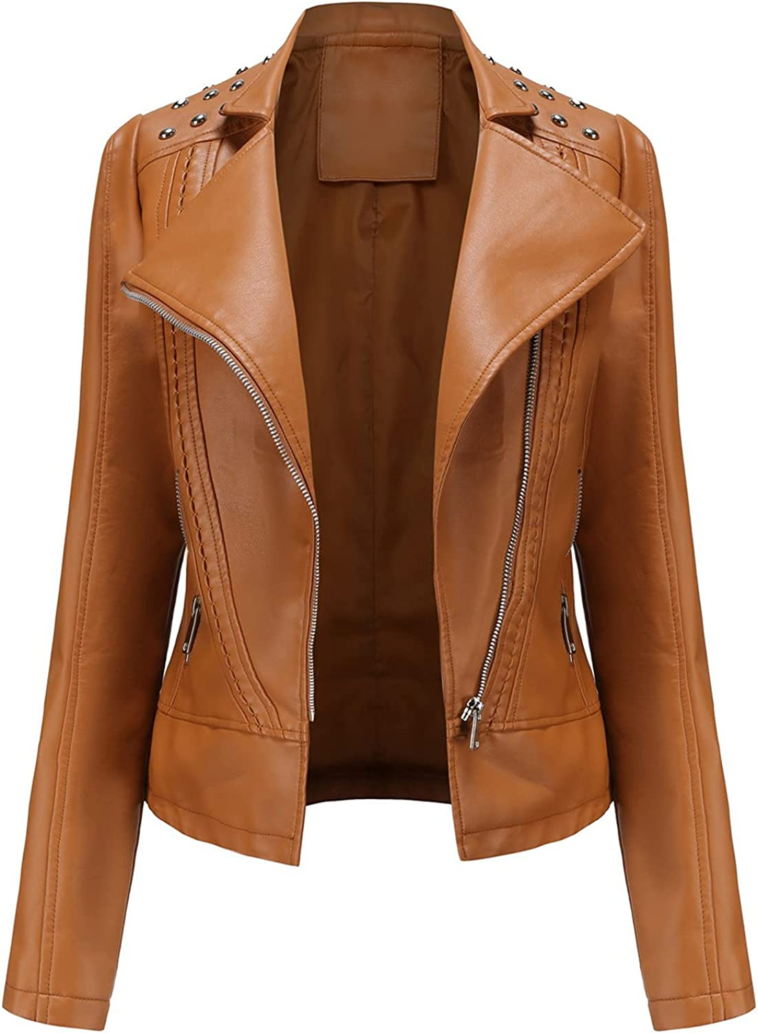 Oxodoi Women Zip-Up Motorcycle Crop Pu Faux Leather Biker Jacket Casual Turn Down Collar Coat for Spring Fall Winter S-3XL