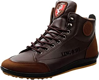 Mitiy Men's Men's High-top Modern Fashion Leather Boots Sneaker Casual Shoes