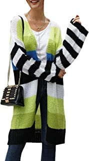 Womens Color Block Cardigan Sweaters Lightweight Boho Open Front Knitted Kimono Striped Coats