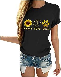 iHHAPY Women`s Casual T-Shirts Tops Round Neck Shirt Sweatshirts Short Sleeve Streetwear Summer Sunflower Print Blouse