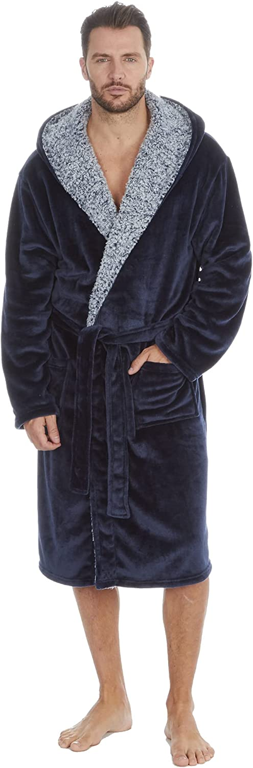 STC Stores Mens Super Soft Shimmer Finish Fleece Hooded Gown with Frosted Sherpa Fleece Trim