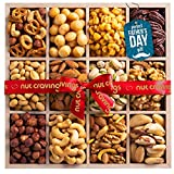 Fathers Day Nut Gift Basket in Wooden Tray + Red Ribbon (12 Piece Assortment) - Prime Arrangement Platter, Birthday Care Package Variety, Healthy Food Kosher Snack Box for Dad, Women, Men, Adults