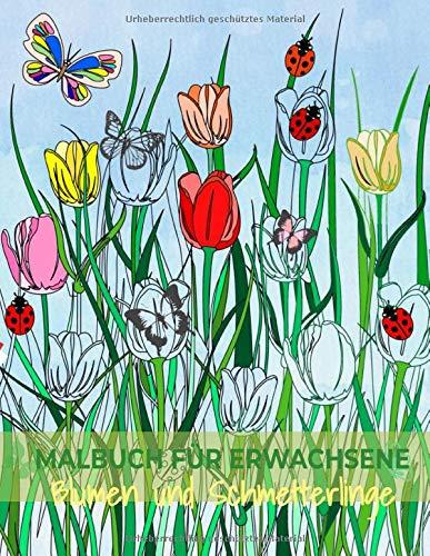 Malbuch für Erwachsene: Blumen und Schmetterlinge Band 2 Ausmalbuch zum Malen und Ausmalen, zur Entspannung und zum Stressabbau