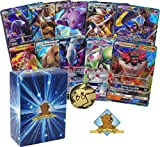 10 Assorted Pokemon Cards - 10 GX Ultra Rare Cards, with No Duplication + 1 Assorted Collectible Pokemon Coin - Includes Golden Groundhog Deck Storage Box