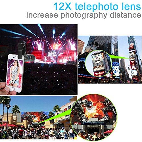 aceyoon Mobile Telephoto Lens 12X Optical Aluminum Telescope Monocular Camera for iPhone 7 / 7 Plus /6 / 6 plus Samsung S7 Android Smartphones