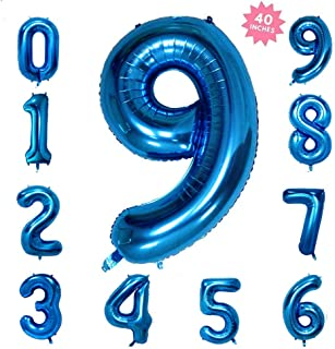 40 Inch Blue Jumbo Digital Number Balloons 9 Huge Giant Balloons Foil Mylar Balloons for Birthday Party,Wedding, Bridal Shower Engagement Photo Shoot, Anniversary