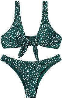 Women Two Piece Swimsuit Push up, Ladies Dot Printed Bikini Set Padded Bra Swimwear Beachwear