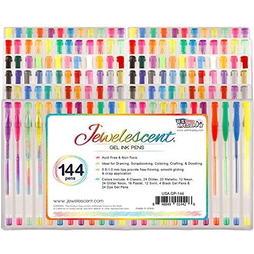 US Art Supply Jewelescent 144 Gel Pen Set - Professional Artist Quality Gel Ink Pens in Vibrant Colors - Classic, Glitter, Metallic, Neon, Pastel, Swirl, and Dye Colors - 100% Satisfaction Guarantee